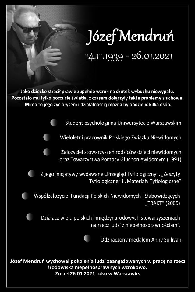 Na czarnym tle czarno-białe zdjęcie Pana Prezesa z barwno-wypukłym globusem. Przedstawione są także skrótowo najważniejsze informacje z dołączonego tekstu.