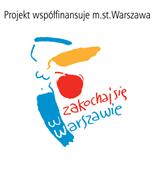 Logo Zakochaj się w Warszawie z napisem Projekt współfinansuje m. st. Warszawa